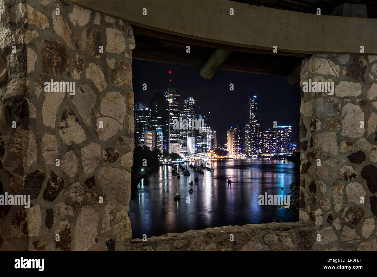 Brisbane City Skyline from Stone Rotunda at Night from Kangaroo Point - Stock Image