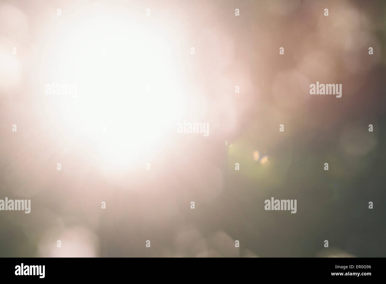 a blurred background inspired to nature with lens flare - Stock Image