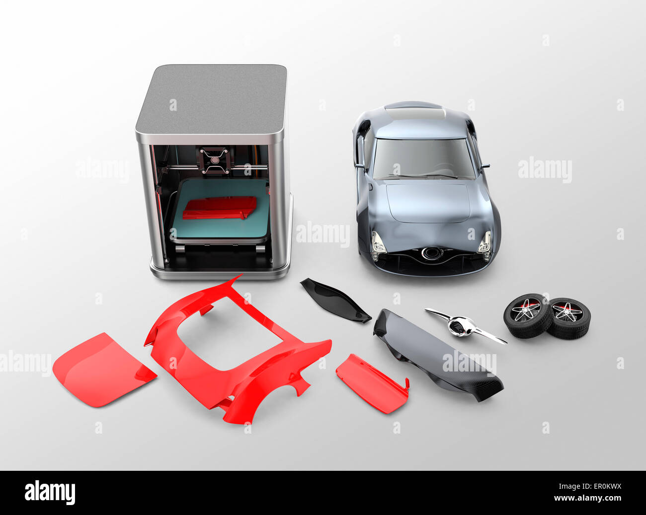3D printer printing car body parts. Concept for customize printing ...