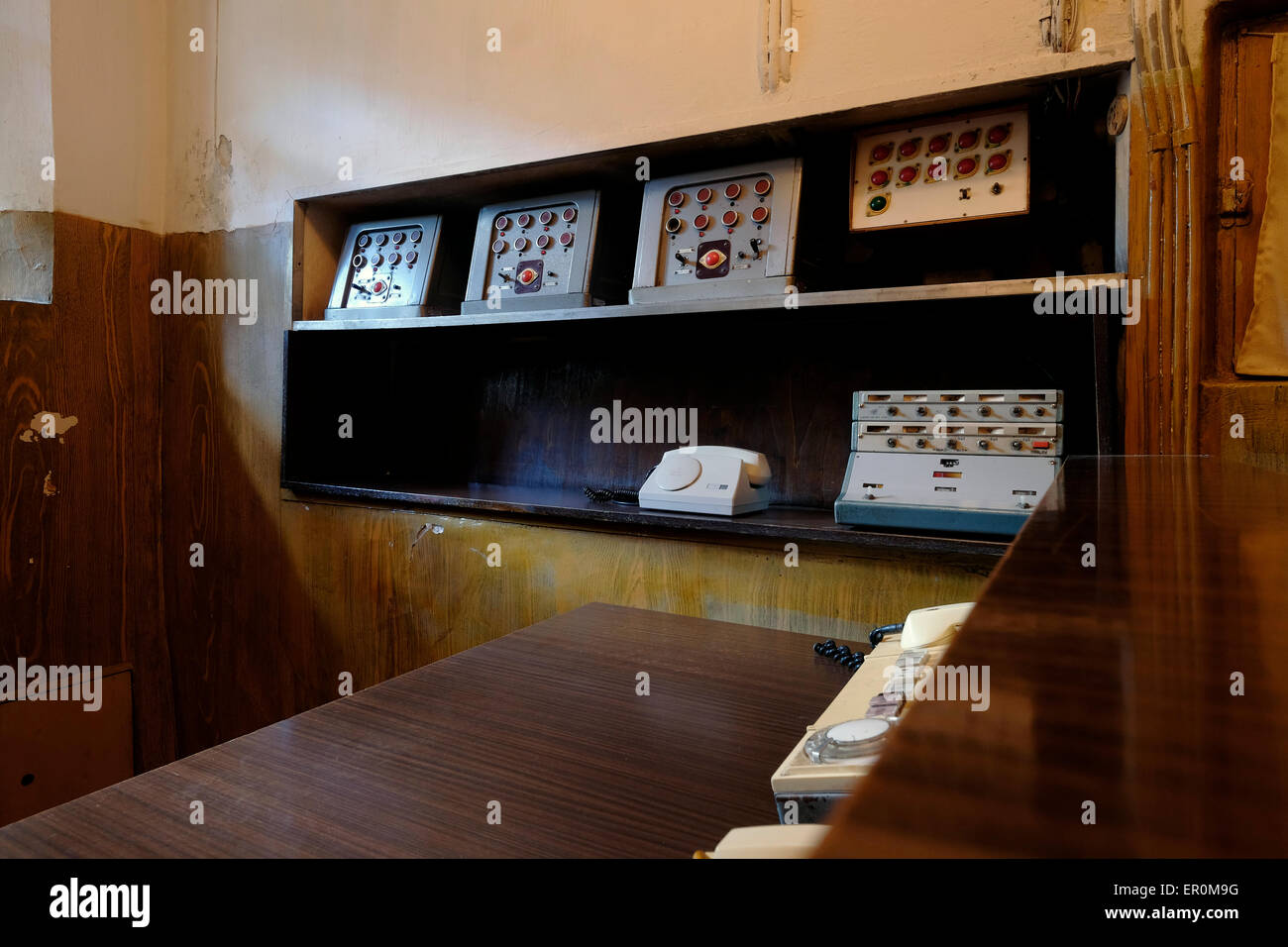 Control room of the basement cells at the former KGB prison now the museum of Genocide Victims in the city of Vilnius Stock Photo
