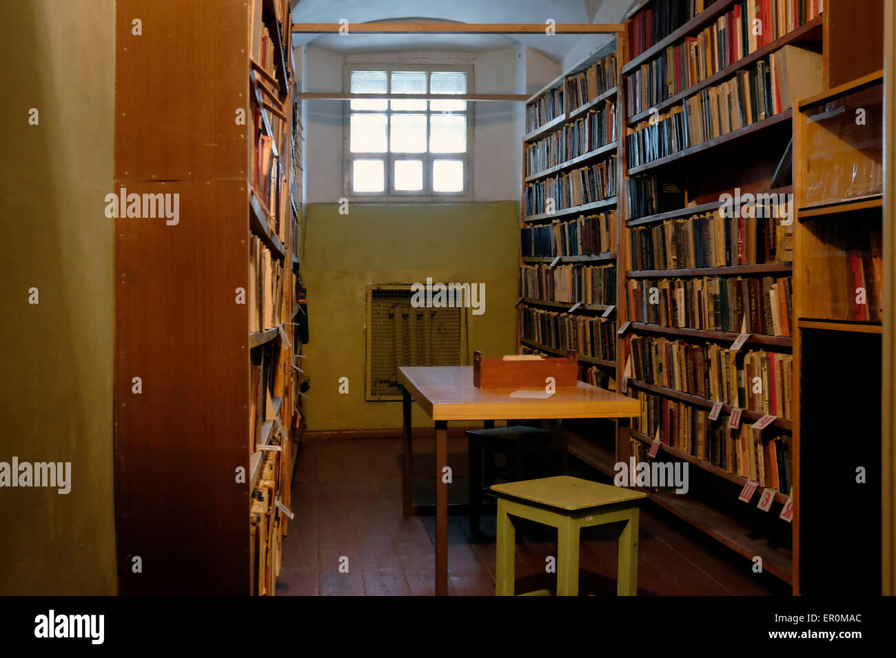The library room at the former KGB prison now the museum of Genocide Victims in the city of Vilnius capital of Lithuania - Stock Image