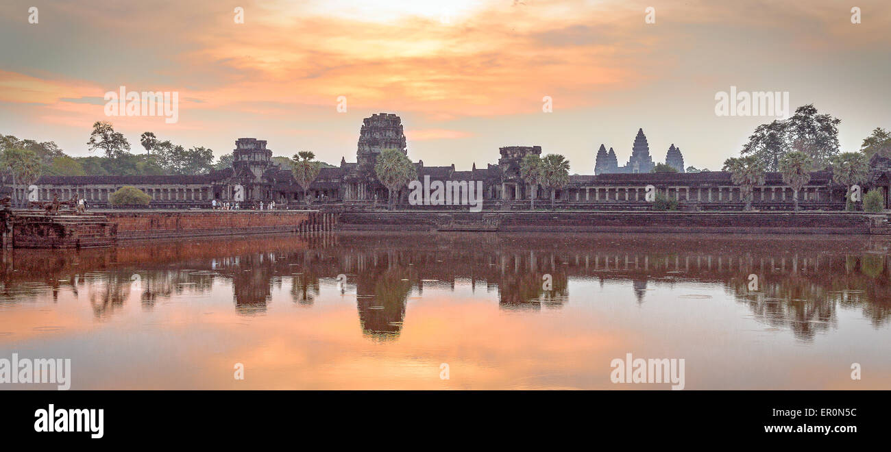 Sunrise on Angkor Vat temple, Cambodia - Stock Image