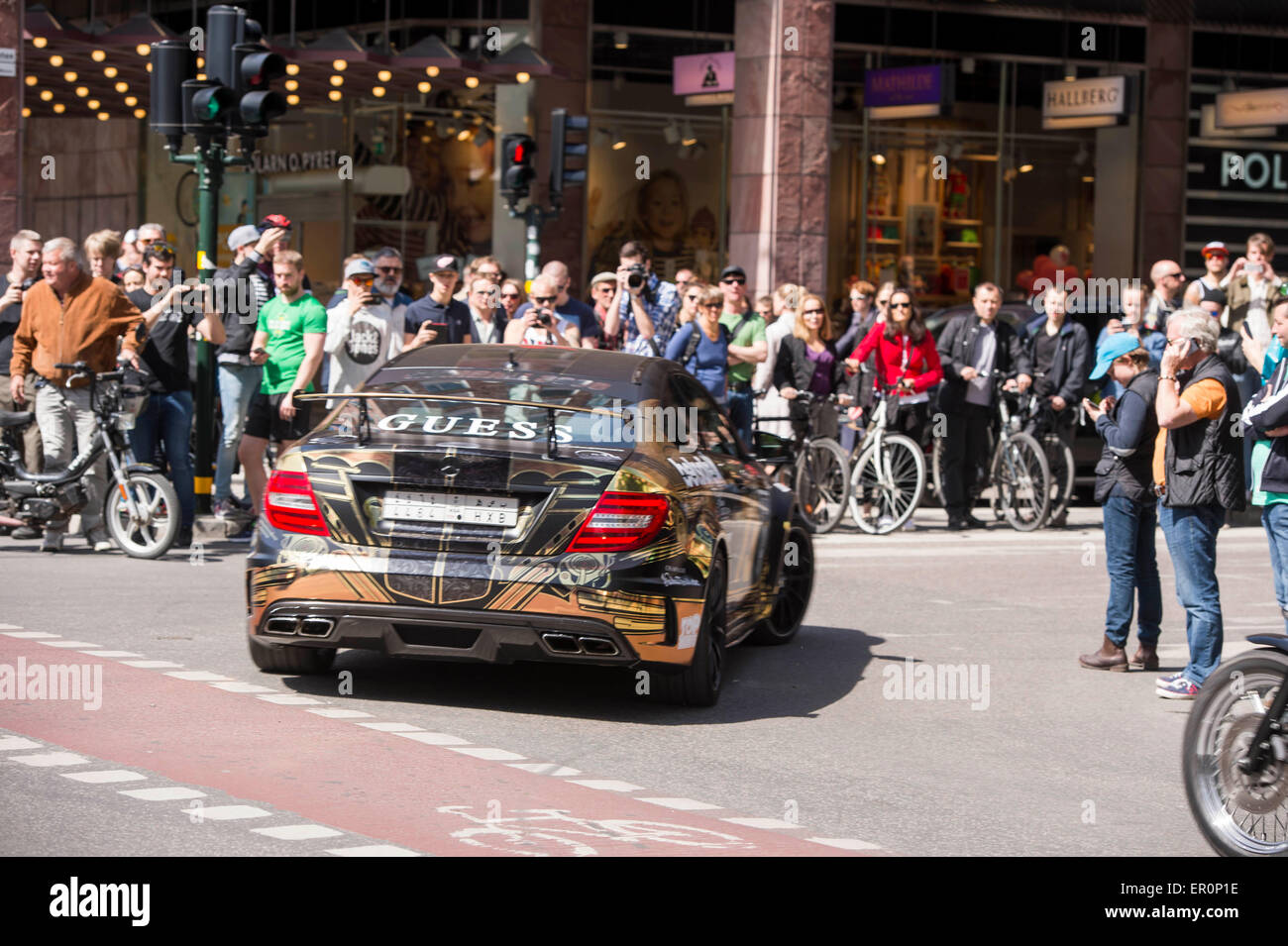 Street view Stockholm Gumball 3000 2015 - Stock Image