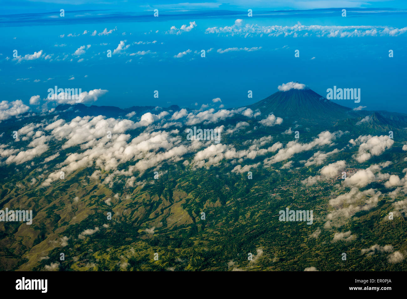 Aerial view of Mount Inerie near Bajawa, Flores, Indonesia. - Stock Image