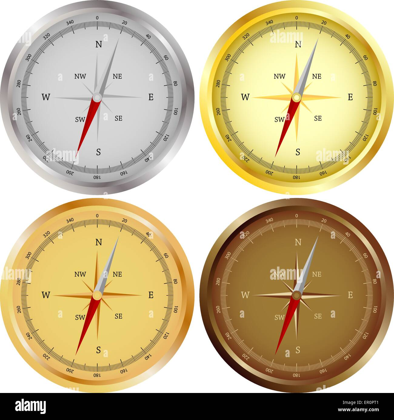 Set of 4 Compasses - Stock Vector