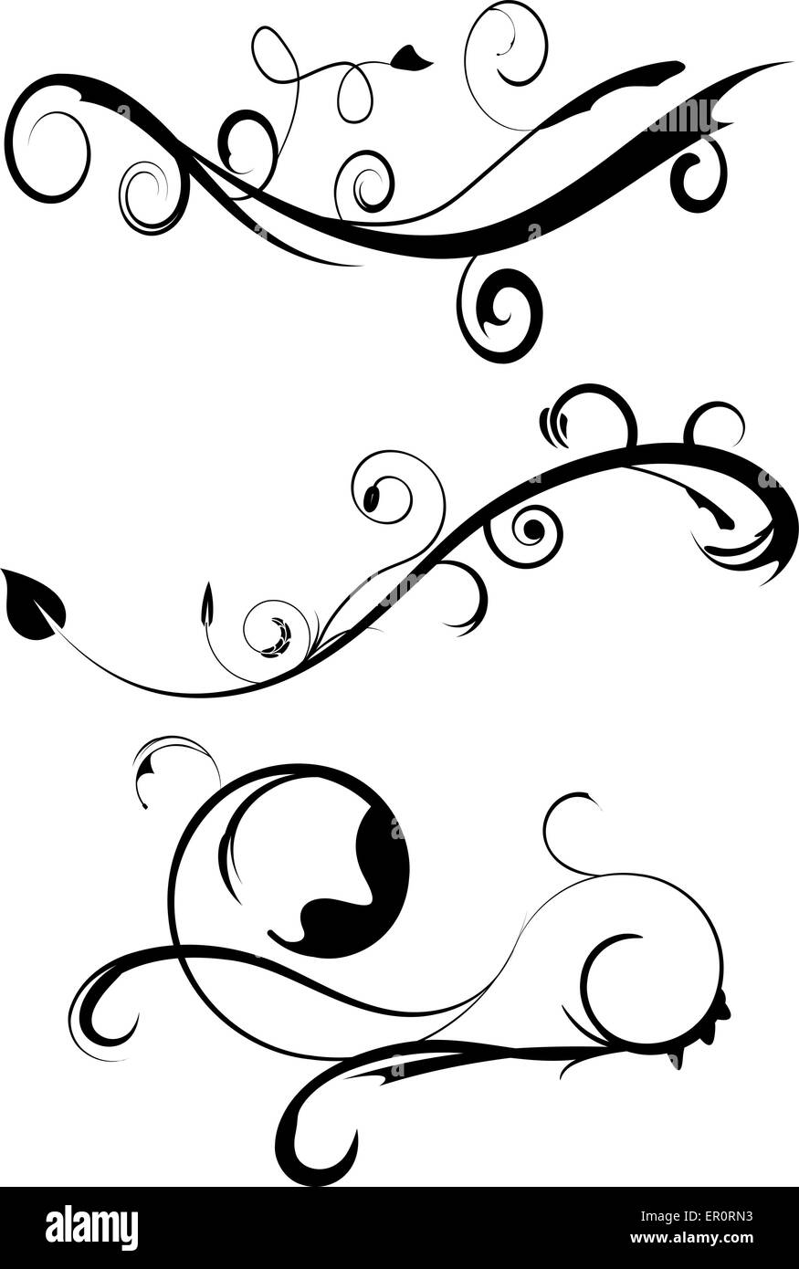 decorative flourishes set 3 stock vector art illustration vector ER Nurse Logo decorative flourishes set 3