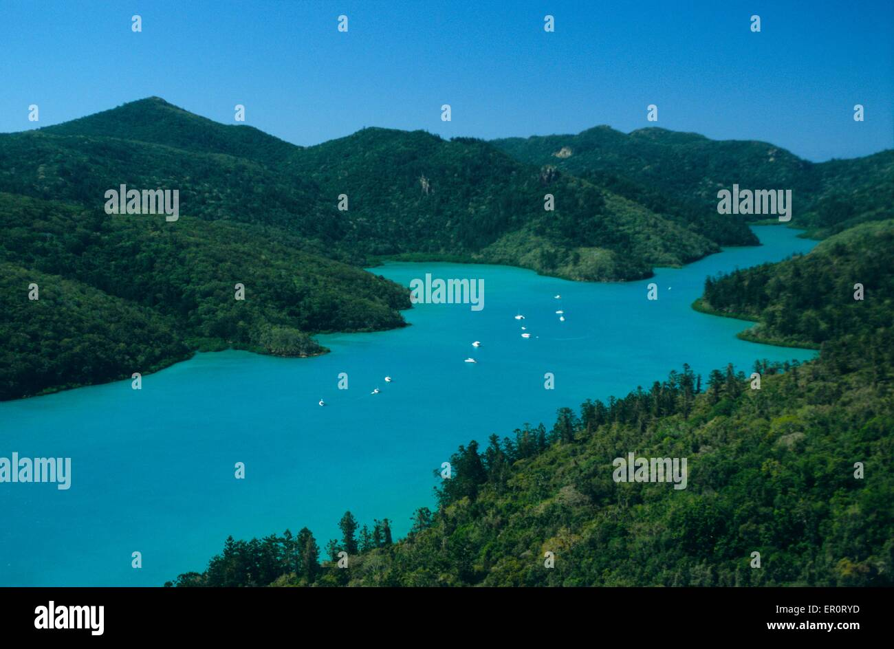 Australia, Queensland, Whitsunday island, Bay at South East (aerial view) // Australie, Queensland, ile de Whitsunday - Stock Image