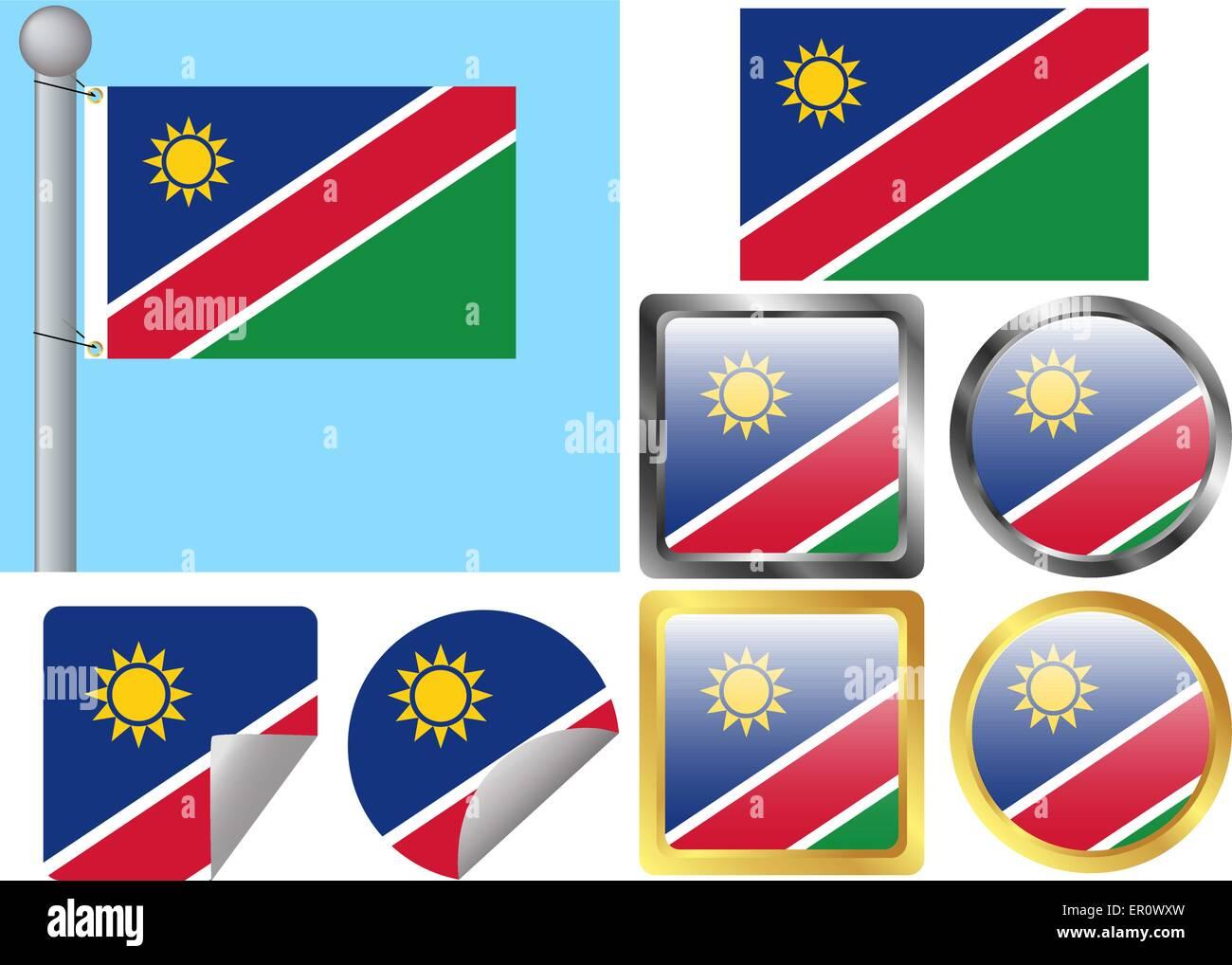 Flag Set Namibia Stock Vector Art & Illustration, Vector