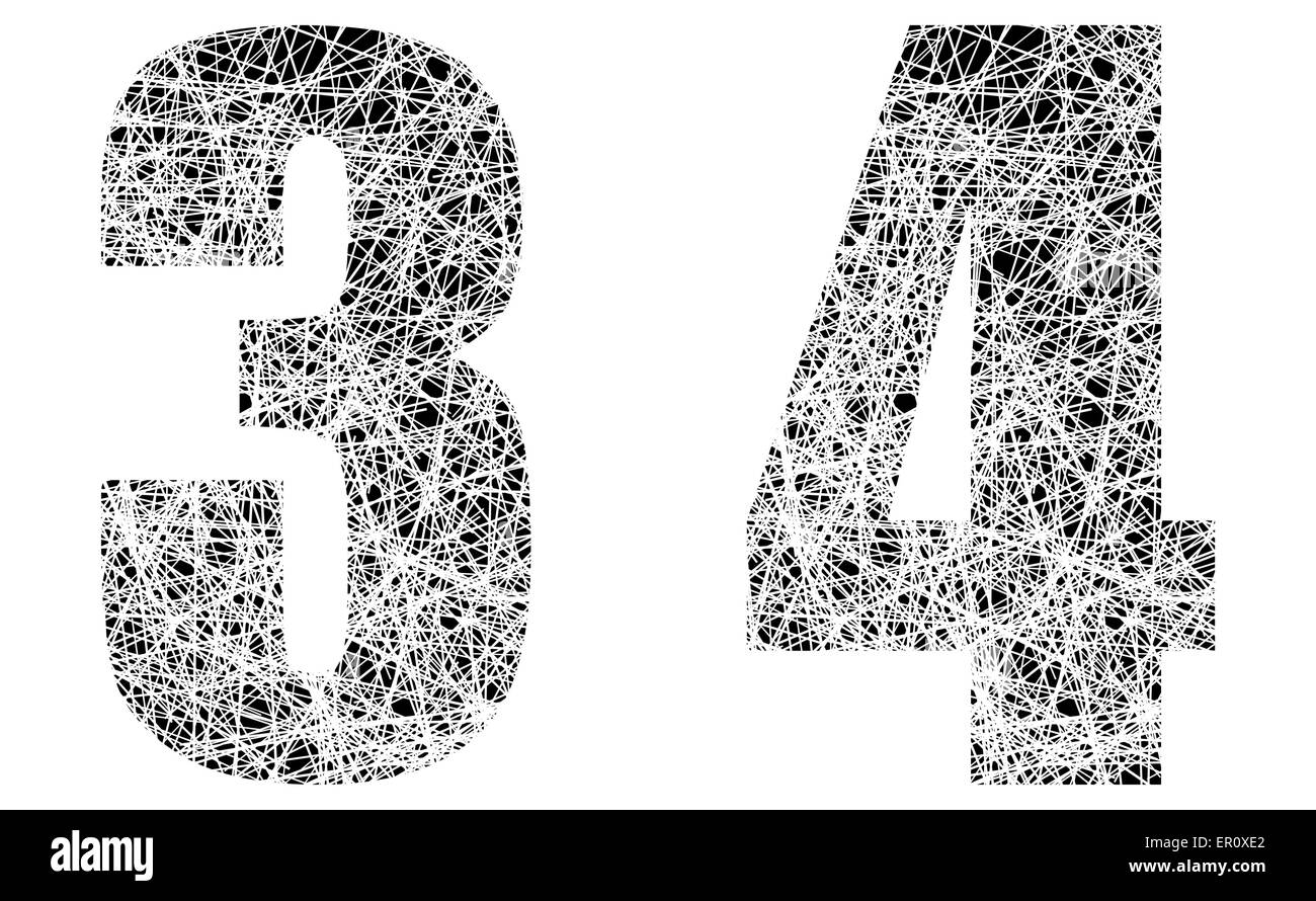 Abstract Black and White Font Numbers 3 and 4 - Stock Image
