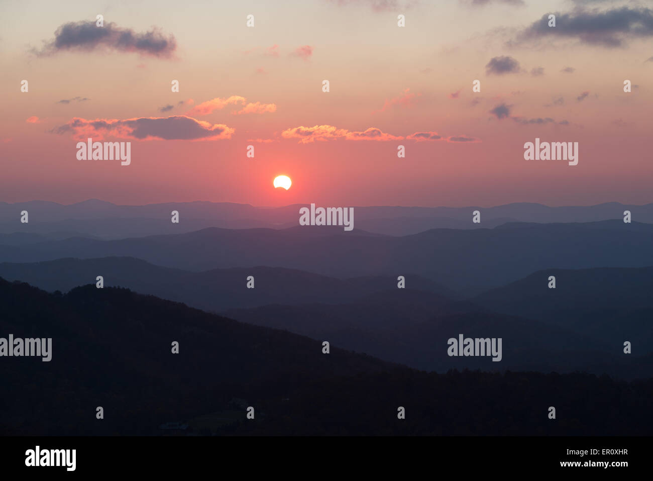 Solar Eclipse observed from Smoky Mountain National Park North Carolina in USA - Stock Image