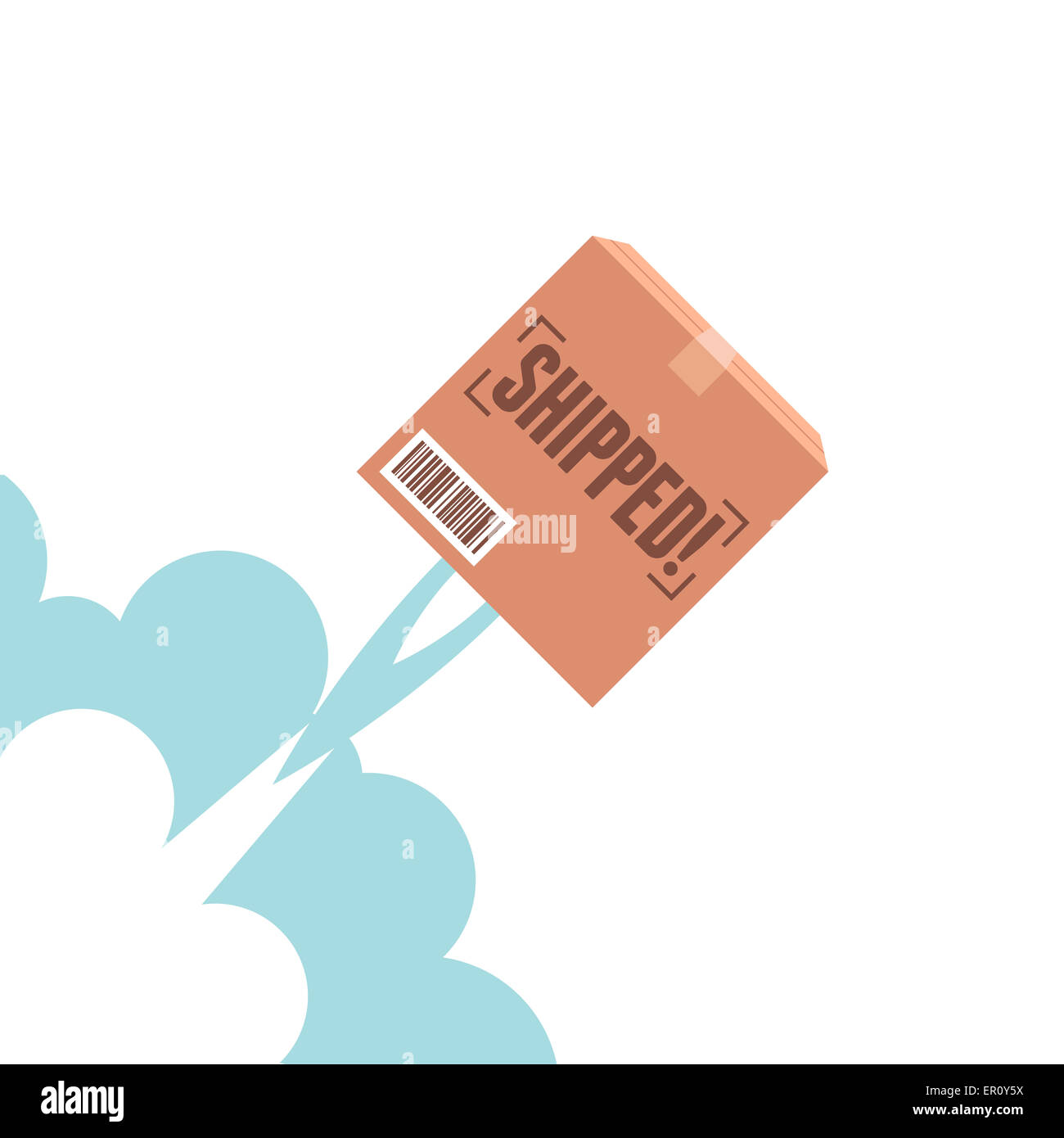 vector cartoon illustration of package flying with a rocket blast stock photo alamy alamy