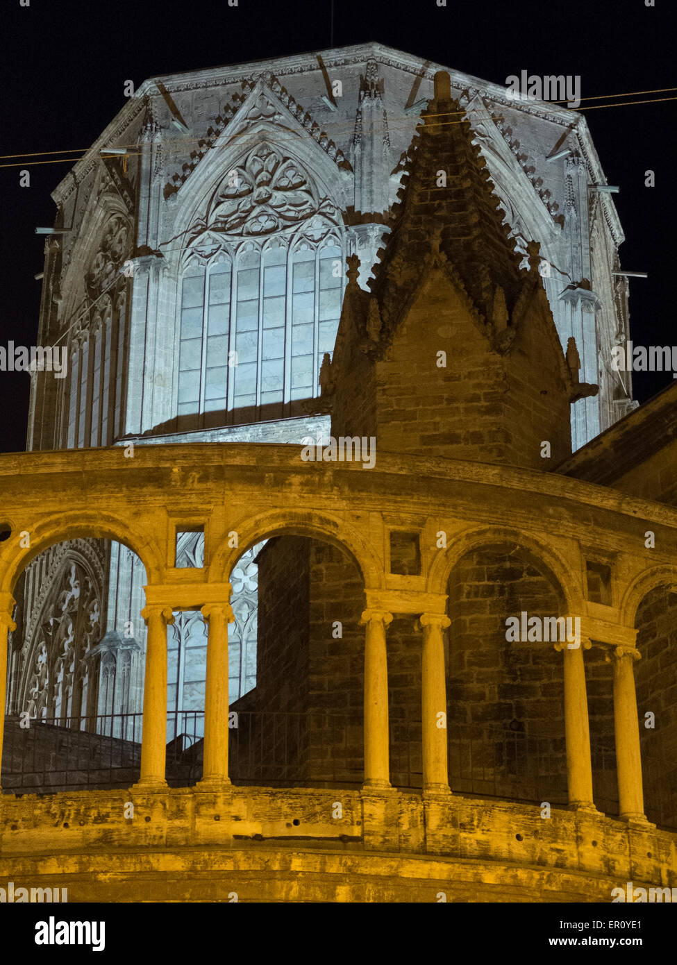 Night view of the Cathedral of Valencia and the Micalet Stock Photo
