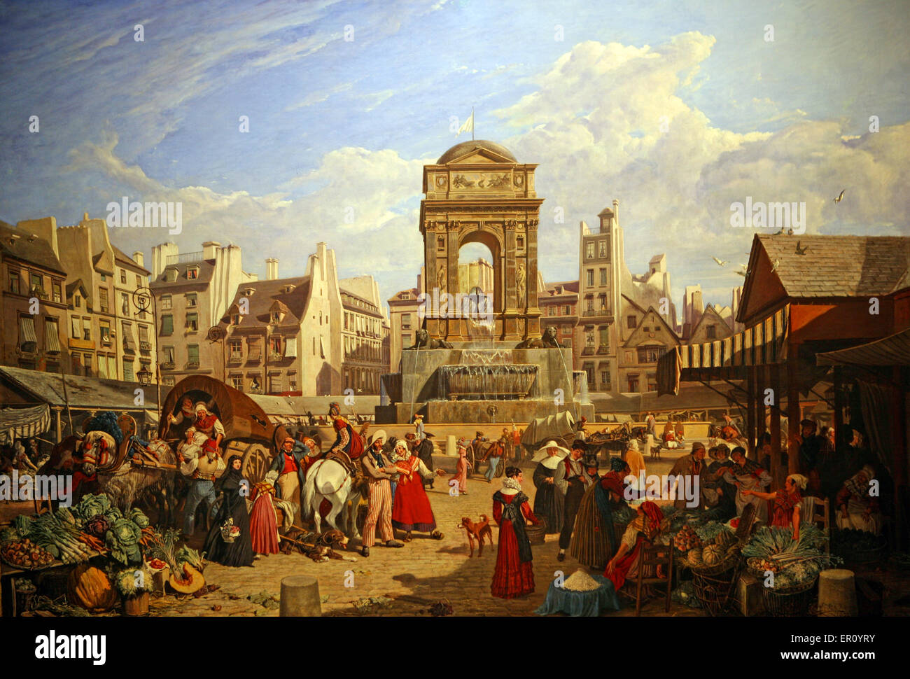 John James Chalon - Le Marche et la fontaine des innocents en 1822 The market and fountain of the innocent in 1822 Stock Photo