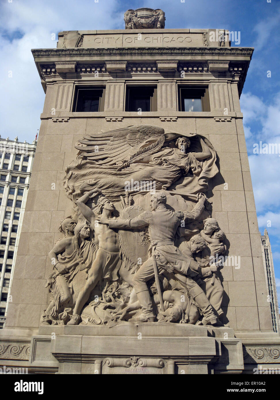 A 1928 sculpture called 'Defense' is featured on a bridgehouse of the Michigan Avenue (DuSable) Bridge in - Stock Image