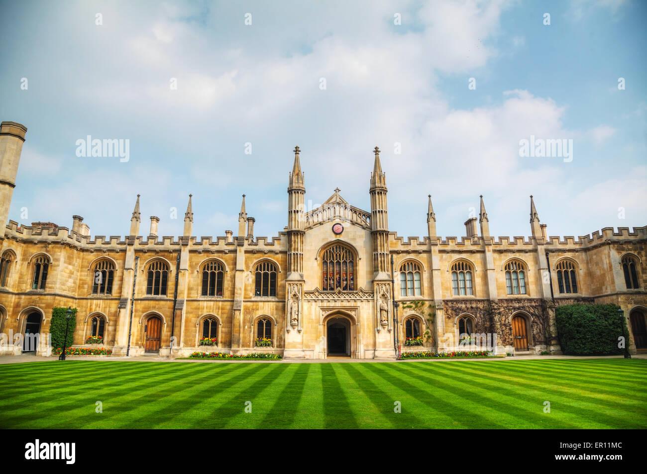 CAMBRIDGE, UK - APRIL 9: Courtyard of the Corpus Christi College on April 9, 2015 in Cambridge, UK. - Stock Image