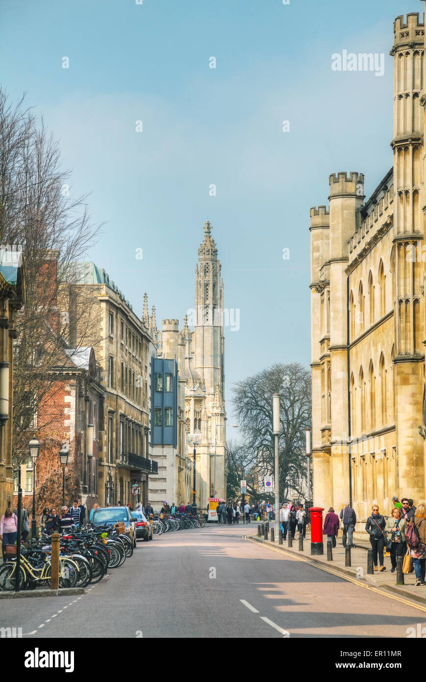 Cambridge, UK - April 9: Old King's Parade street on April 9, 2015 in Cambridge, UK. It's a university city - Stock Image