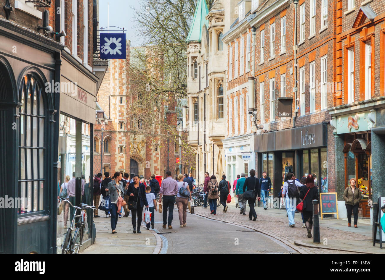 Cambridge, UK - April 9: Old Trinity street on April 9, 2015 in Cambridge, UK. It's a university city. - Stock Image