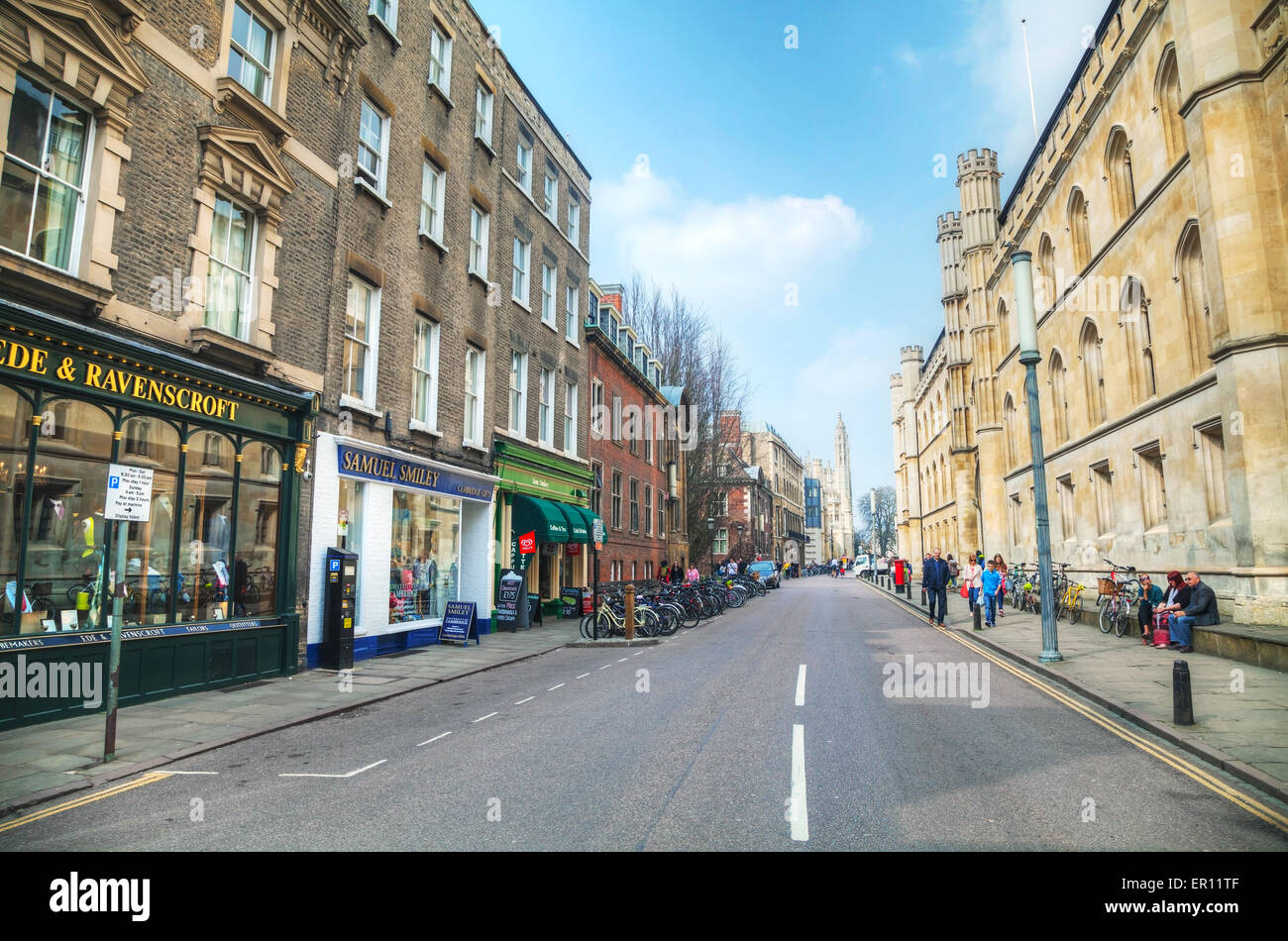 Cambridge, UK - April 9: Old King's Parade street on April 9, 2015 in Cambridge, UK. It's a university city. - Stock Image