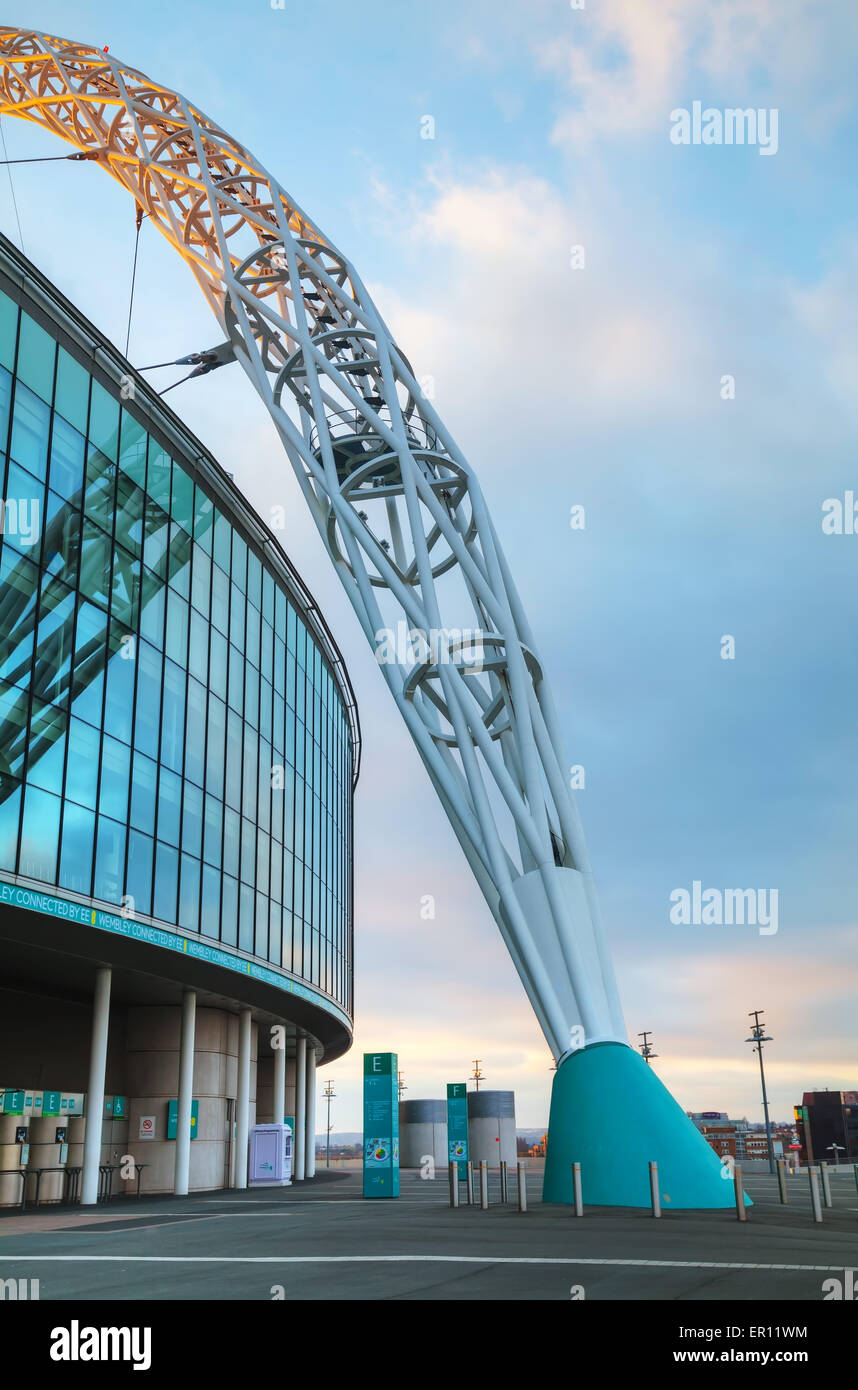 LONDON - APRIL 6: Wembley stadium on April 6, 2015 in London, UK. It's a football stadium in Wembley Park, which - Stock Image
