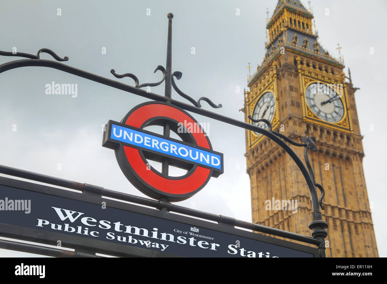 LONDON - APRIL 4: London underground sign on April 4, 2015 in London, UK. The system serves 270 stations and has - Stock Image