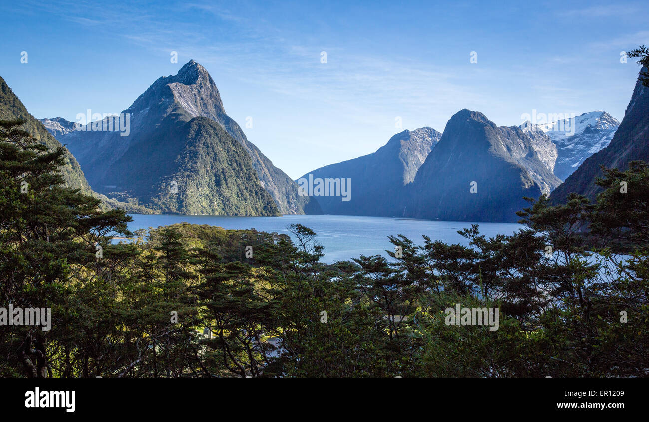 Mitre Peak and Milford Sound in Fjordland South Island New Zealand - Stock Image