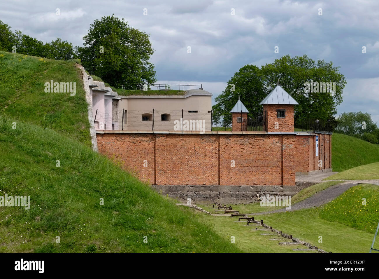 View of the reconstructed prison of The Ninth Fort a stronghold which was used as a prison and way-station for prisoners - Stock Image