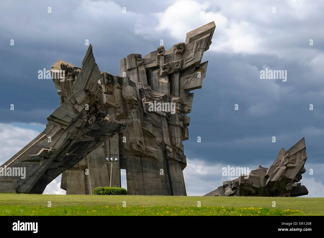 The memorial to the murdered Jews of Kaunas and victims of Nazism designed by Alfonsas Ambraziūnas at the Ninth - Stock Image