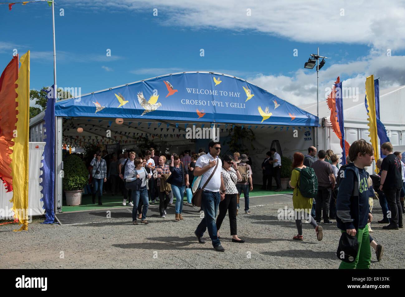 Hay-on-Wye, Wales, UK. 24th May, 2015. The main entrance to the Hay Festival on May 24, 2015 in Hay-on-Wye, Wales. - Stock Image