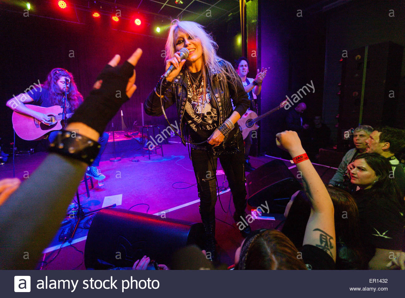 german rock singer Doro Pesch performs during an unplugged club concert - Stock Image