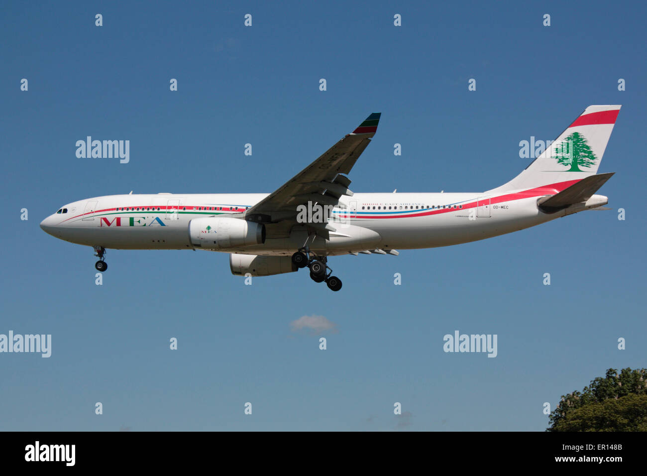 Middle East Airlines Airbus A330-200 on approach to London Heathrow - Stock Image