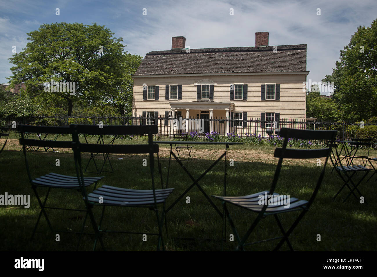 This farmhouse was home to Rufus king,signer of the U.S. Constitution and outspoken opponent of slavery. - Stock Image
