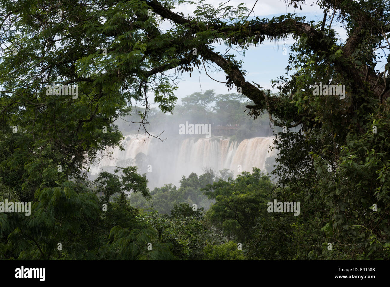 The Iguazu Falls, on the Argentina, Brazil, Paraguay border. These shots were taken after one of the biggest storms Stock Photo