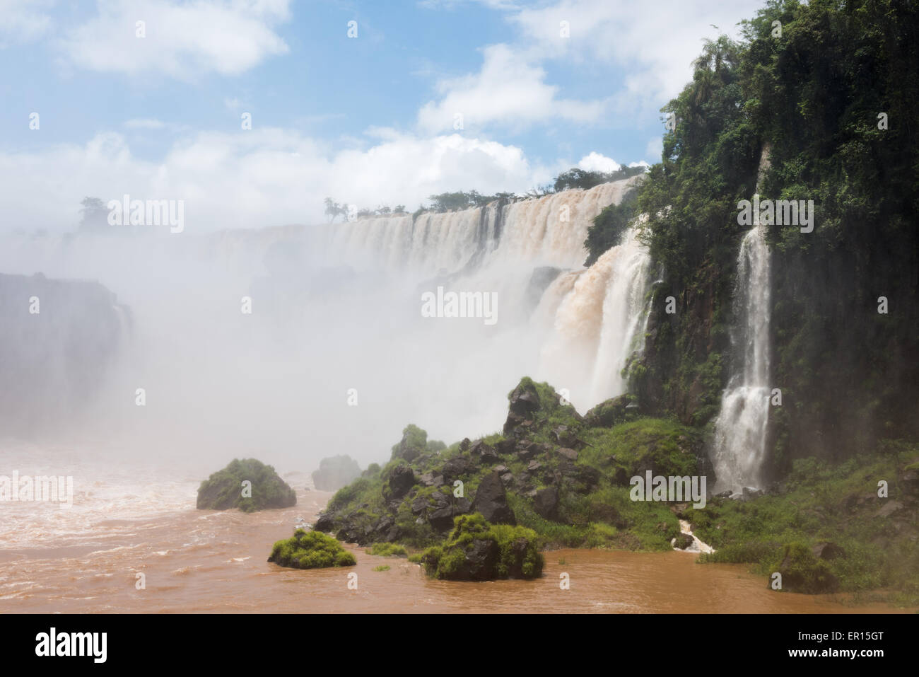 The Iguazu Falls, on the Argentina, Brazil, Paraguay border. These shots were taken after one of the biggest storms - Stock Image