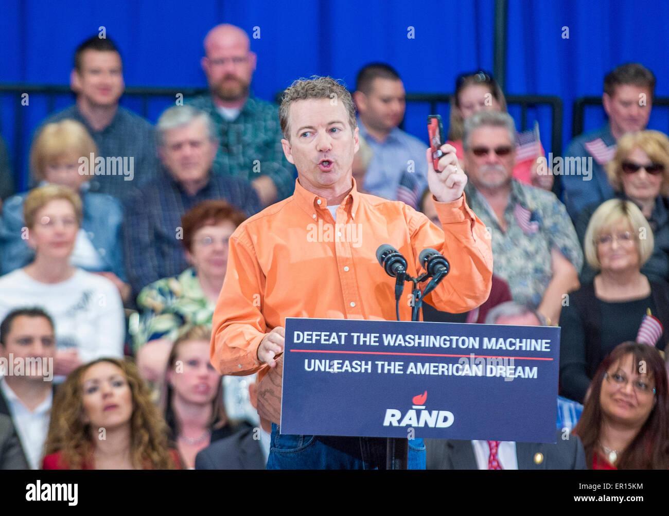 Republican presidential candidate U.S. Sen. Rand Paul speaks during a rally in Las Vegas, - Stock Image