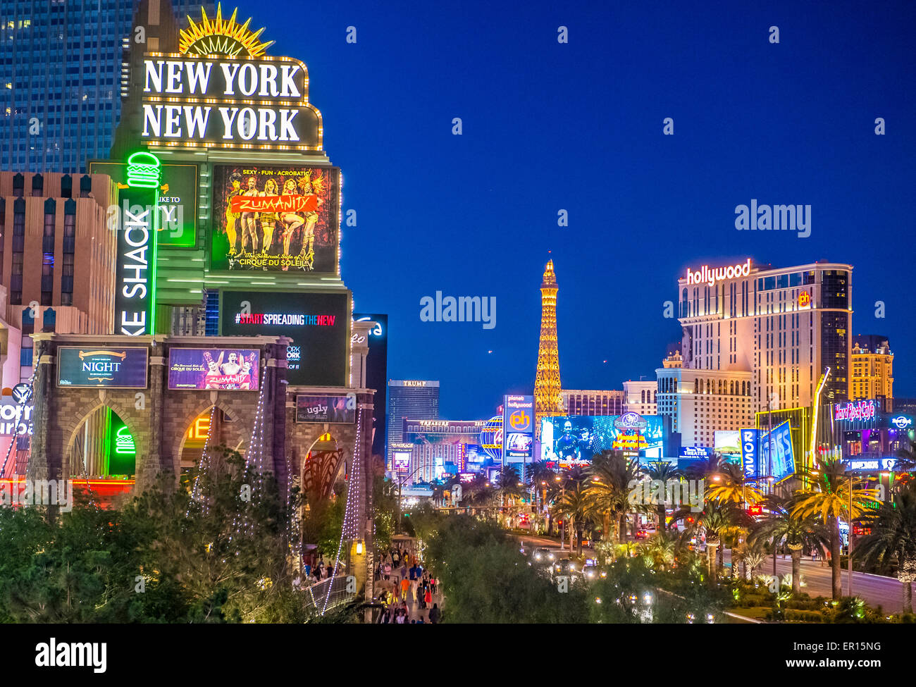 View of the strip in Las Vegas , Nevada - Stock Image