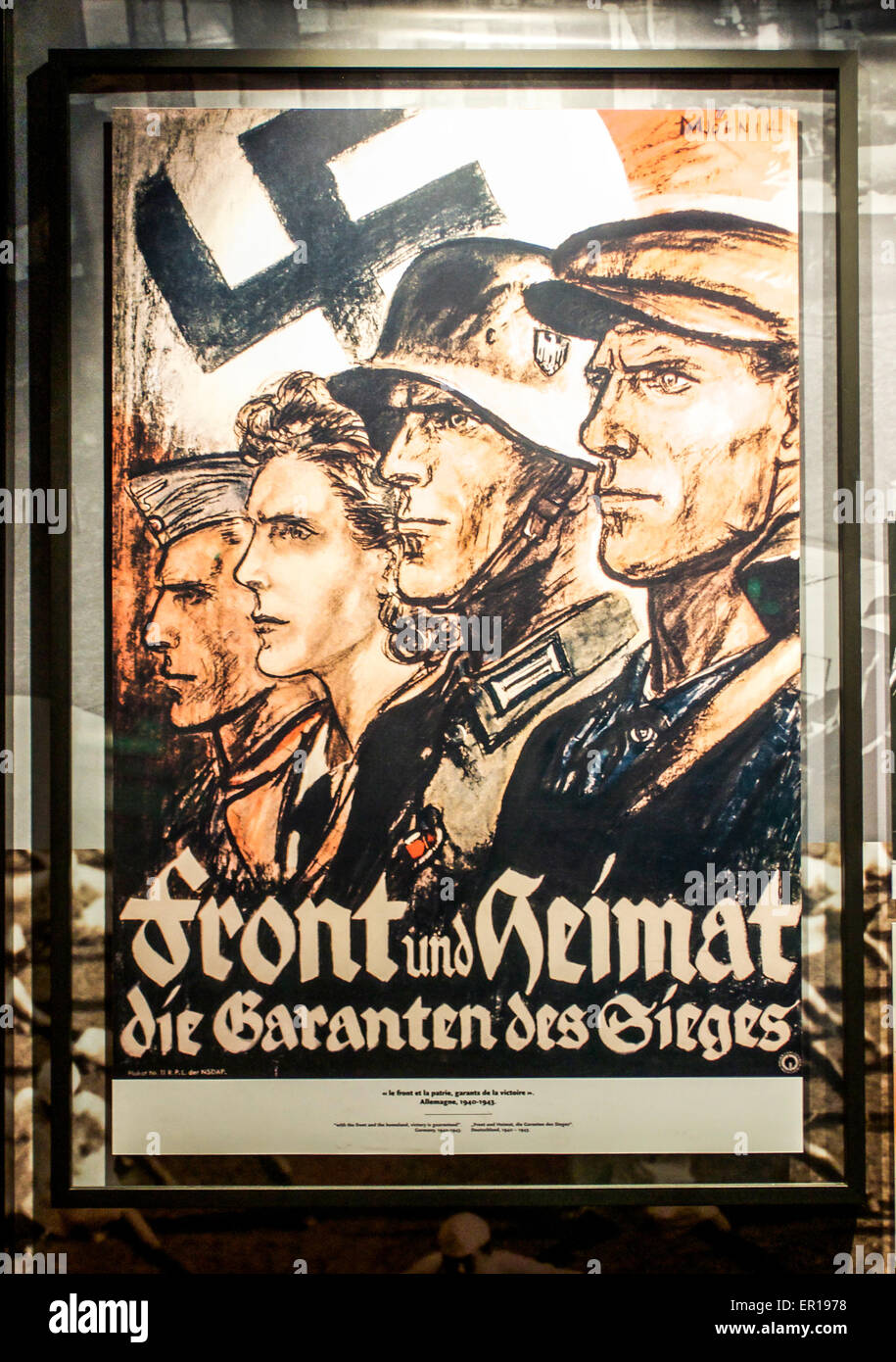 Vintage German World War II patriotic propaganda poster for Front and Home. Stock Photo