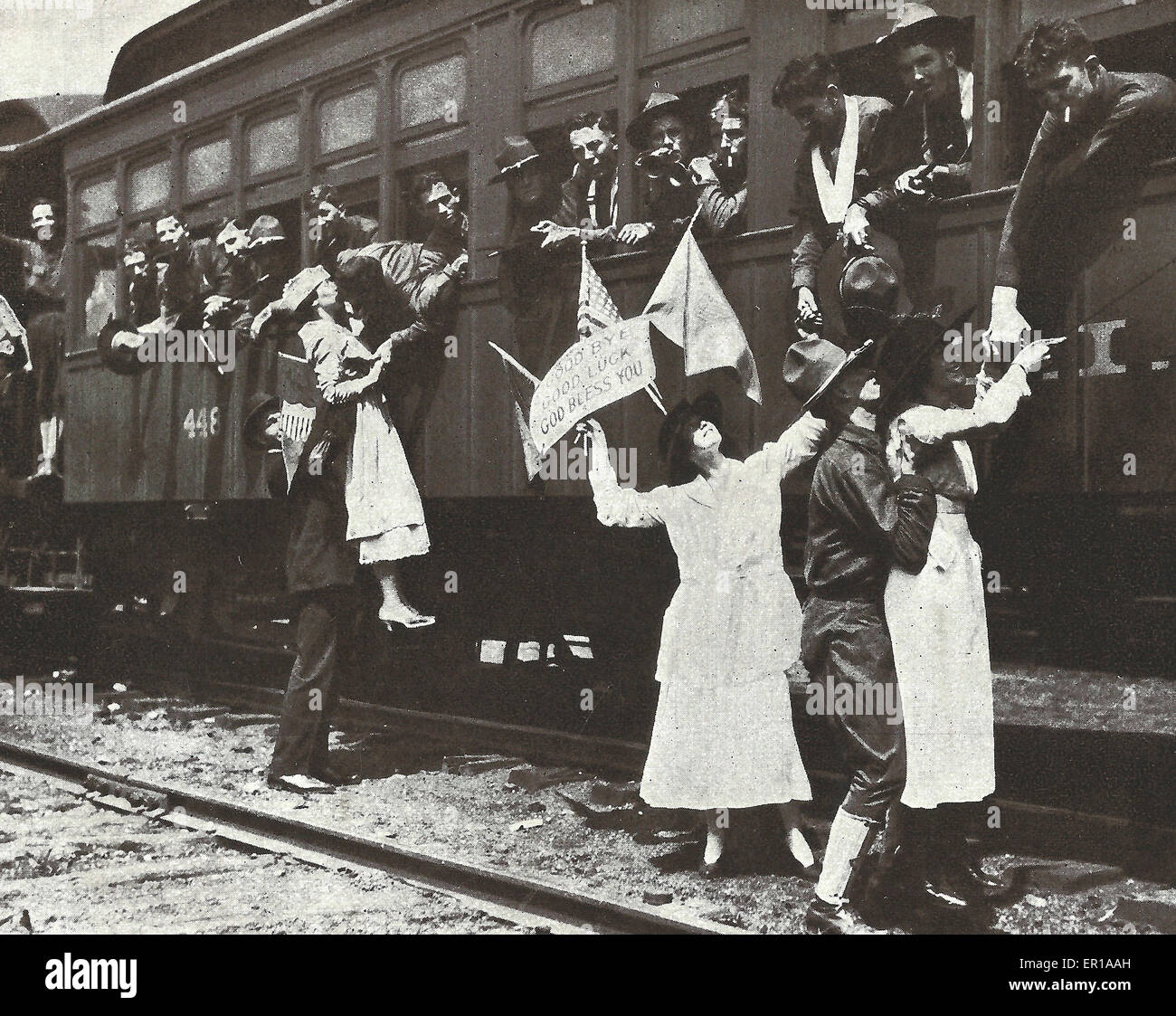 The Fighting Sixty Ninth Off to camp - A last goodbye to sweethearts and wives as the train pulls out of the station. - Stock Image