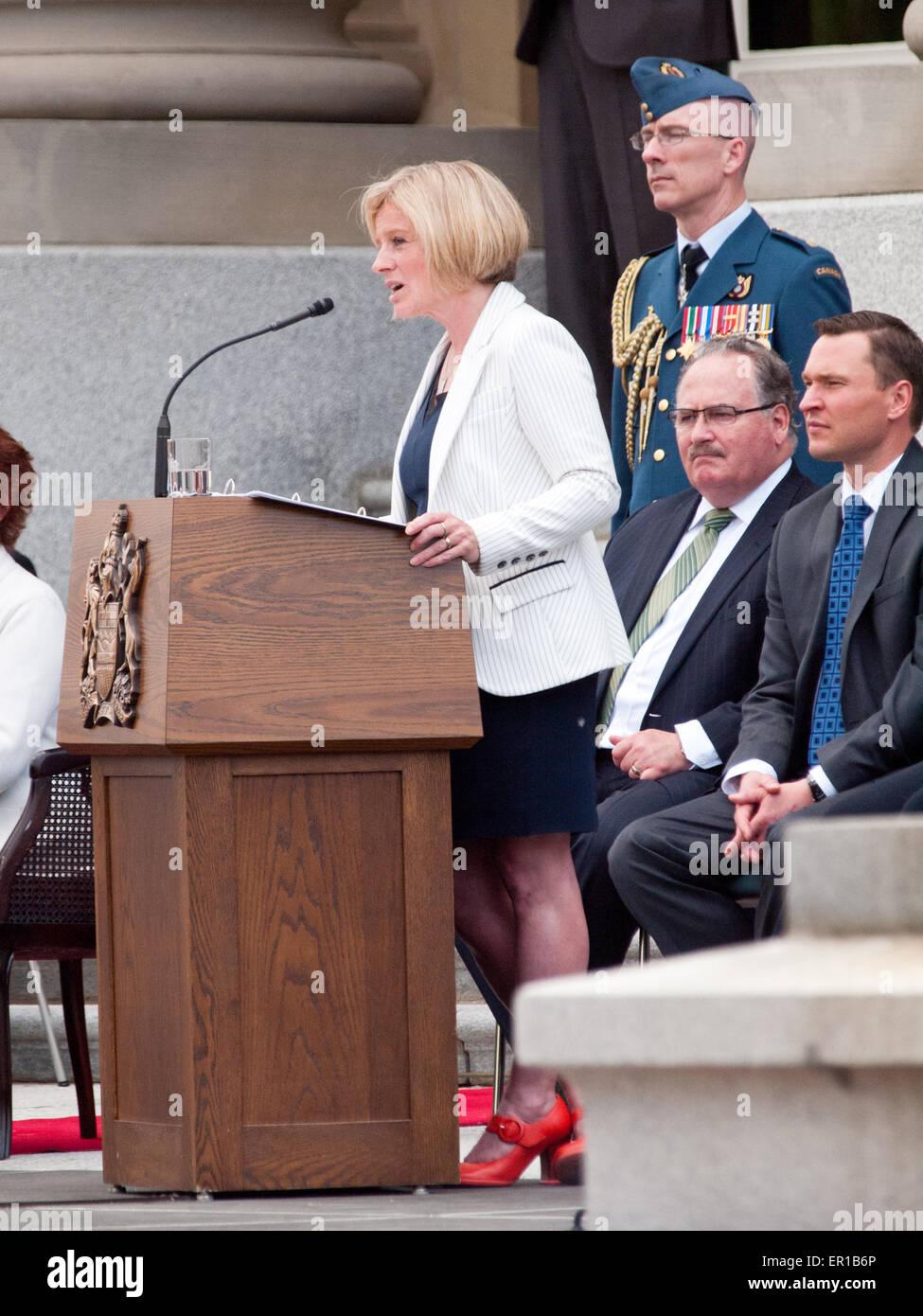 Edmonton, Alberta, Canada. 24th May, 2015. Alberta New Democratic Party (NDP) Premier Rachel Notley and Cabinet - Stock Image