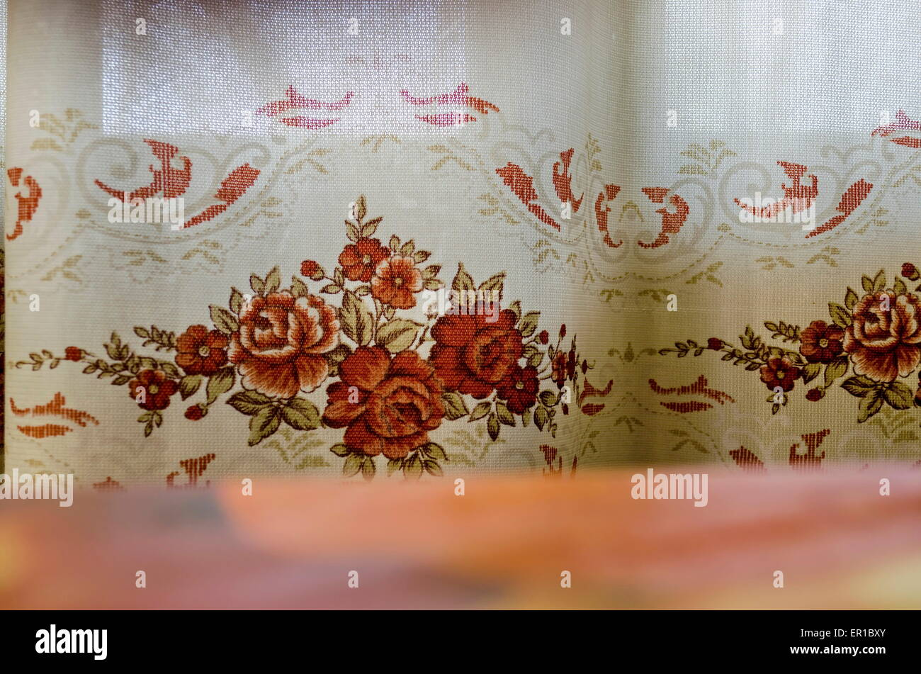 Window-curtain in home in one sunny day - Stock Image