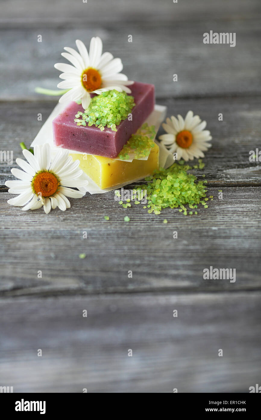 Fruit soap with salt on the boards, spa - Stock Image