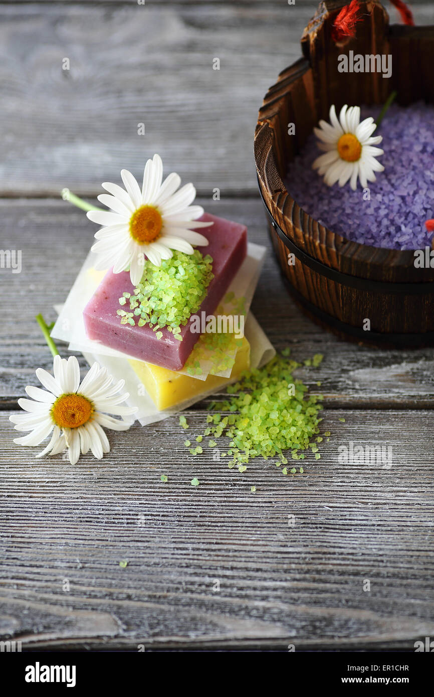 Hygienic soap with chamomile and sea salt, homemade - Stock Image
