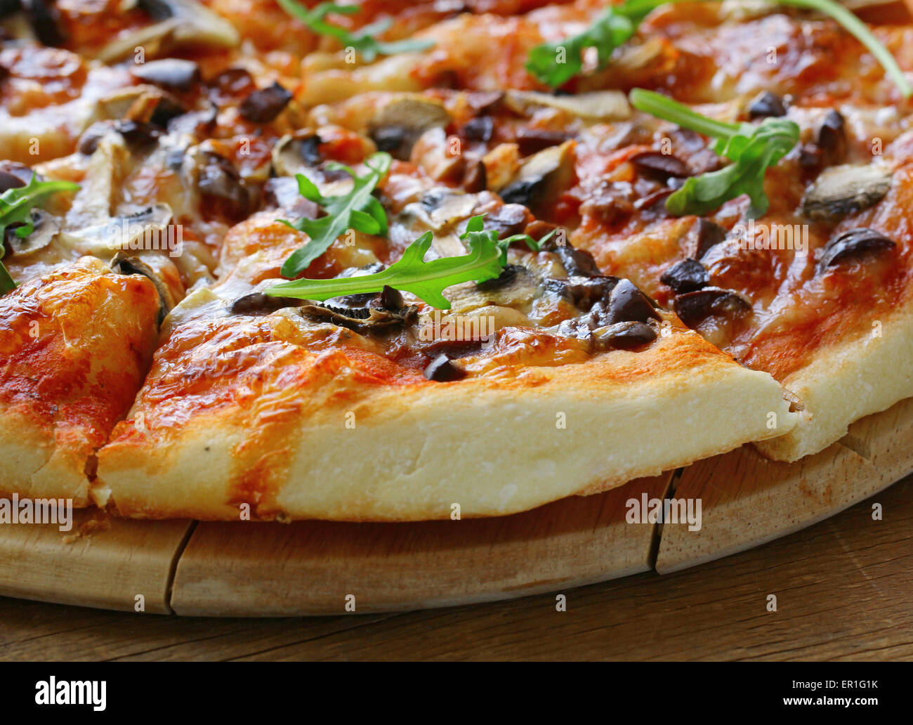 Traditional Italian food pizza with tomato sauce and cheese - Stock Image