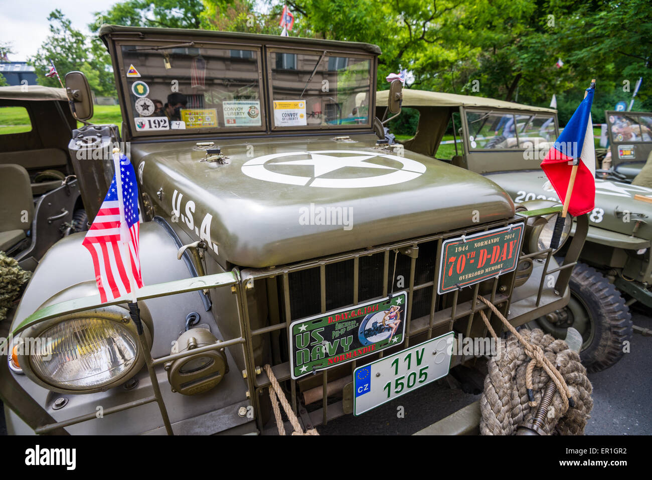 Vintage Off-road car of the US army on the meeting veteran cars ...