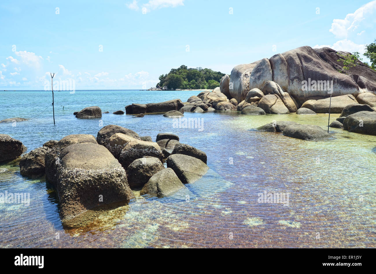 Tanjung Tinggi Beach which is rich for its granites with their various sizes - Stock Image