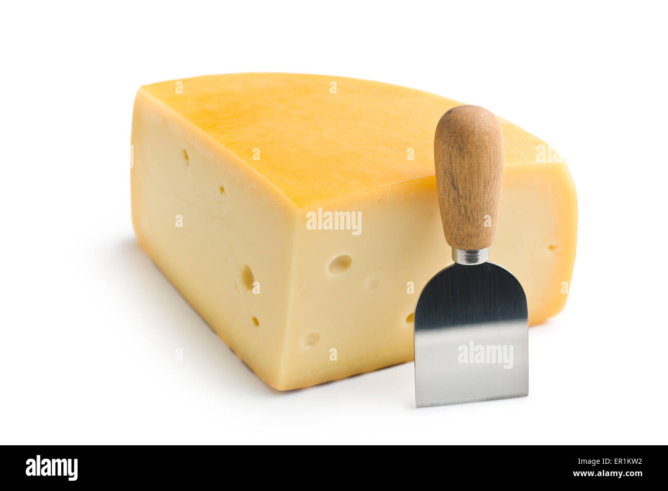 edam cheese and knife on white background - Stock Image