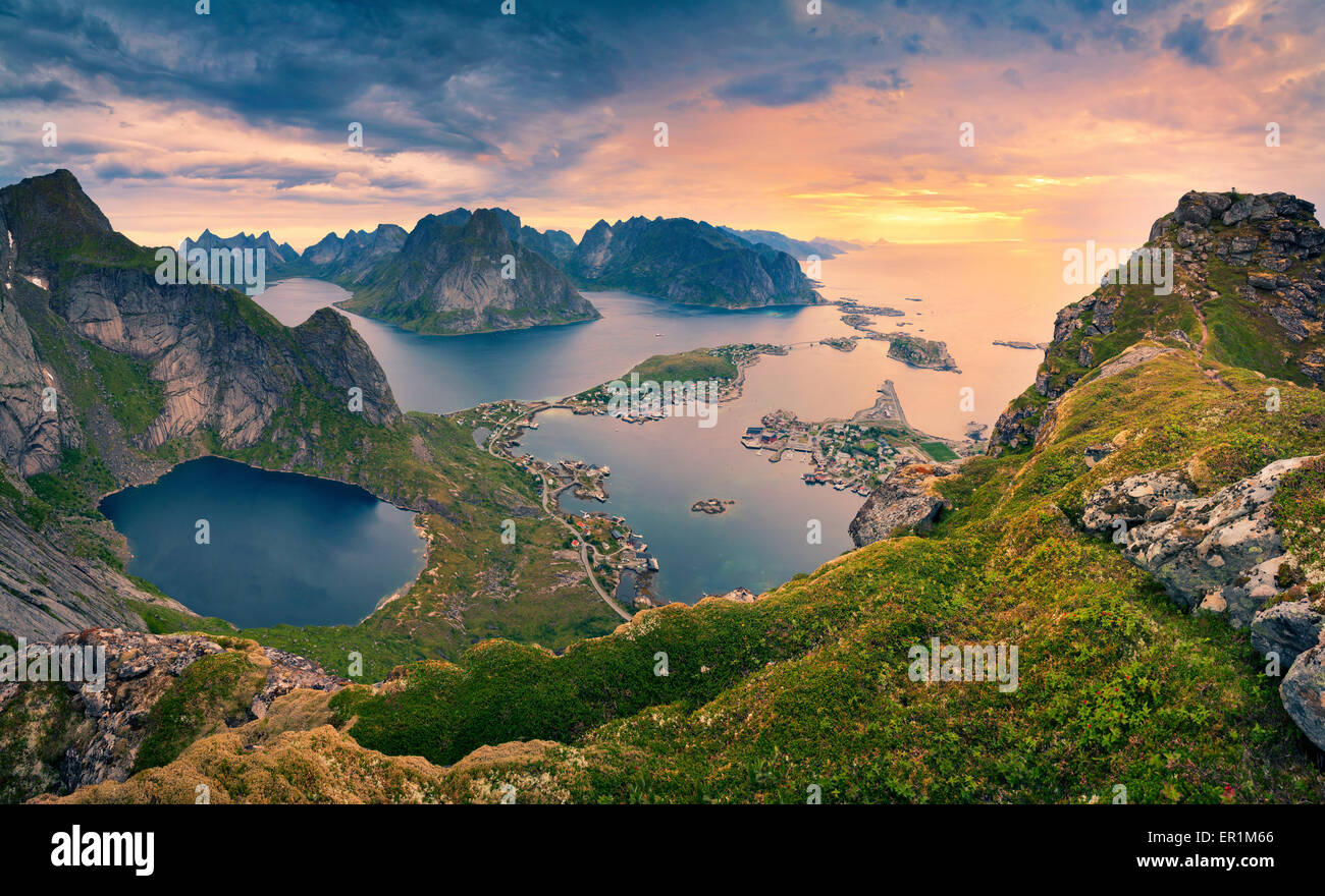 Norway. View from Reinebringen at Lofoten Islands, located in Norway, during summer sunrise. - Stock Image