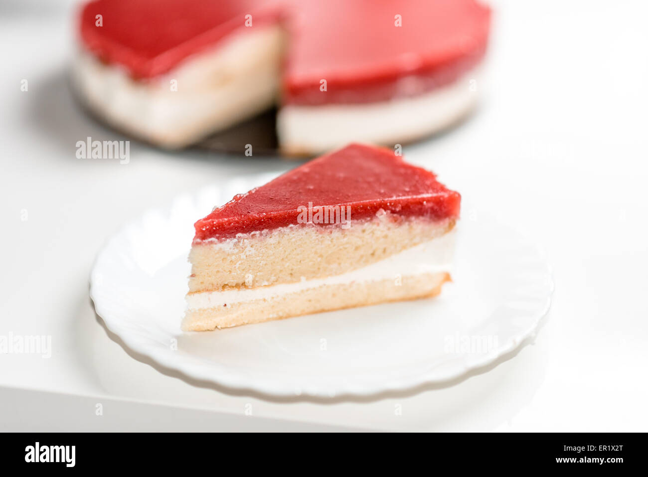 Home made cake with fresh strawberry, white chocolate and cottage cheese - Stock Image