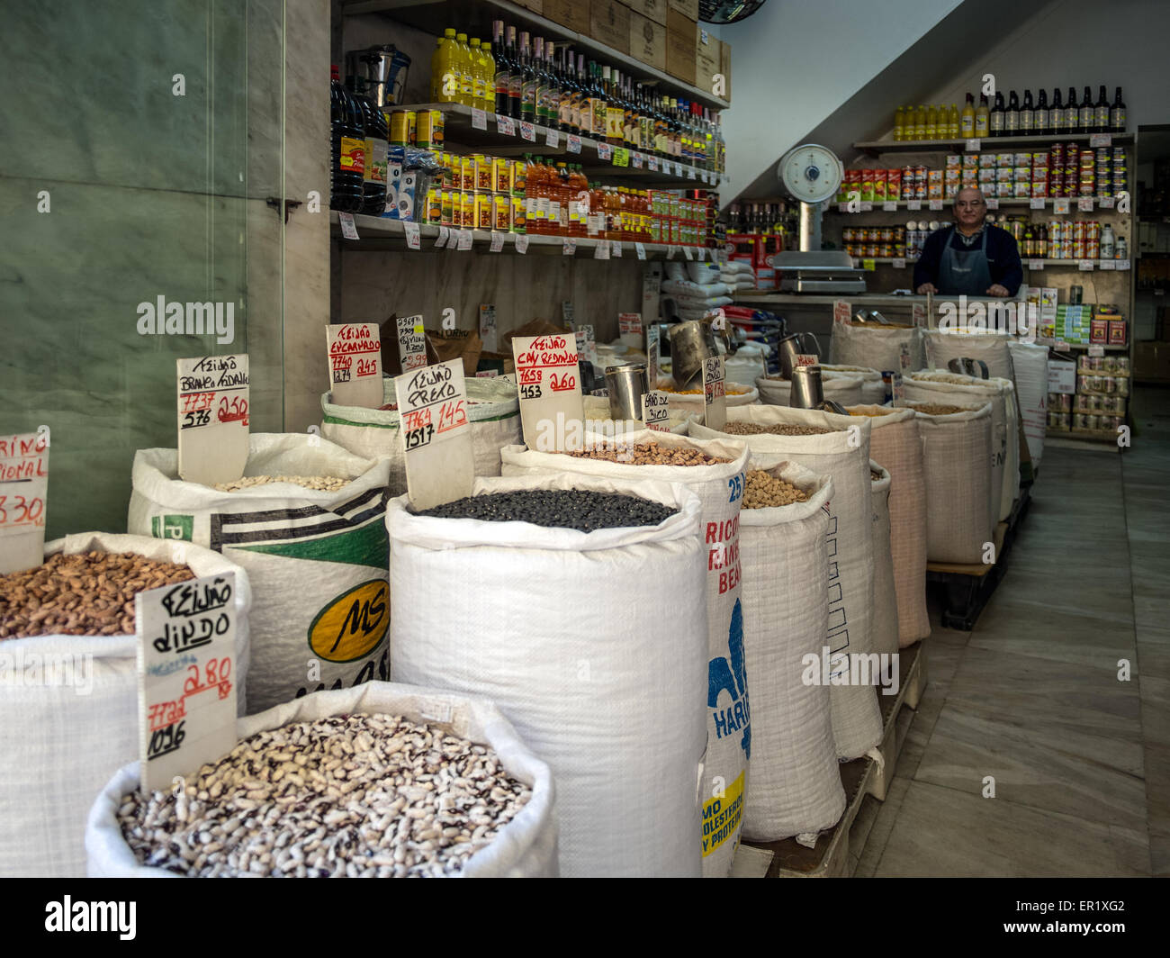Beans in sacks in small delicatessen shop in Lisbon - Stock Image