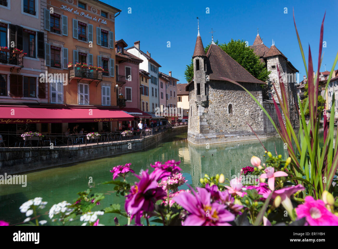 Annecy, Haute-Savoie department, Rhone-Alpes, France.  Palais de l'Isle in the middle of the Thiou river. - Stock Image
