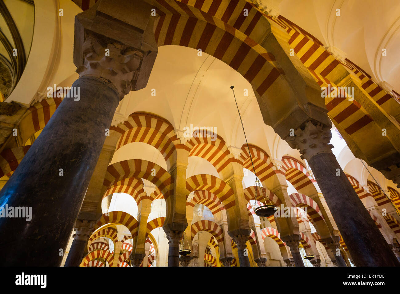 Cordoba, Cordoba Province, Andalusia, southern Spain.  Interior of La Mezquita, or Great Mosque.  The Historical Stock Photo